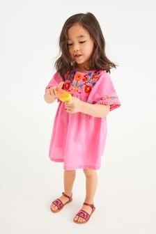 Fuchsia Embroidered Cotton Kaftan Dress (3mths-7yrs)