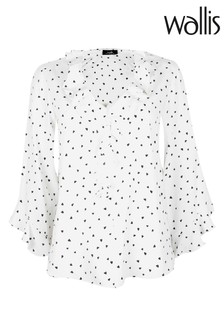 Wallis Monochrome Heart Print Ruffle Top