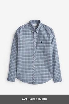 Blue/Green Regular Fit Gingham Long Sleeve Stretch Oxford Shirt