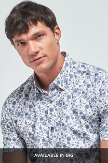 White Short Sleeve Floral Print Shirt