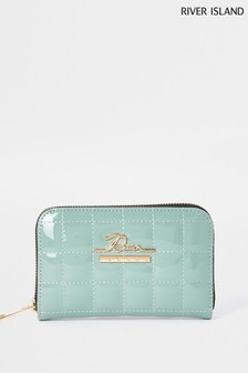 River Island Green Light Patent Quilted Zip Around Purse