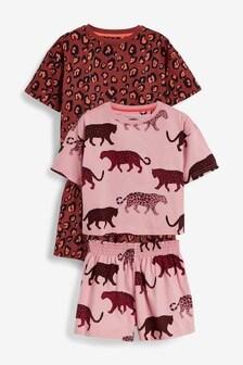 Rust/Pink 2 Pack Leopard Print Short Pyjamas (3-16yrs)