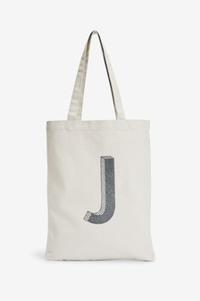 Grey Organic Cotton Reusable Monogram Bag For Life