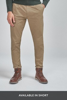 Stone Tapered Slim Fit Pleat Front Chinos