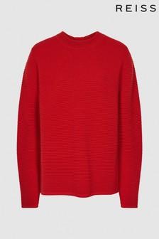 Reiss Red Skye Zip Detailed Jumper