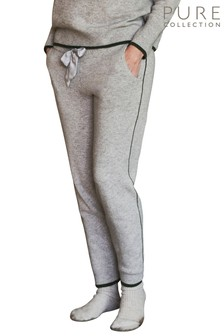 Pure Collection Grey Cashmere Knitted Joggers