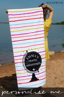 Personalised Women's Travel Adventure Beach Towel by Solesmith