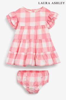 Laura Ashley Baby Girl Pink Gingham Dress & Knicker