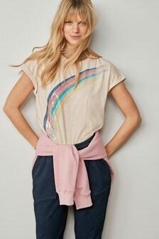 Oatmeal Sequin Rainbow T-Shirt