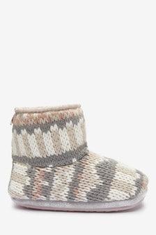 Fairisle Pattern Knitted Slipper Boots