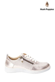 Hush Puppies Pink Roo Zip Up Lace-Up Trainers