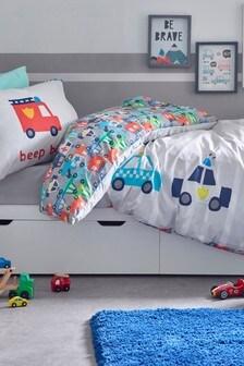 Beep Beep Cars Reversible Duvet Cover and Pillowcase Set
