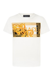 Boys White And Gold Cotton T-Shirt