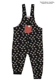 Turtledove London 3 Cats Easy Fit Black Dungarees
