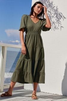 Green Volume Sleeve Tiered Jersey Dress
