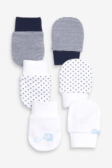 Blue/White 3 Pack Elephant Scratch Mittens
