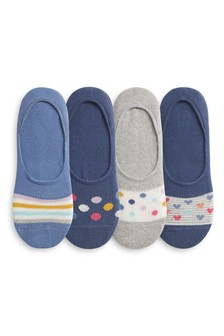 Navy Spot Stripe Cushioned Sole Invisible Trainer Socks Four Pack