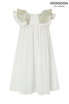 Monsoon Cream Baby Alayah Sequin Collar Dress