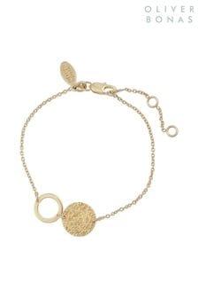 Oliver Bonas Gold Plated Anatola Textured Disc & Circle Bracelet