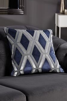 Navy Blue Collection Luxe Velvet Geo Square Cushion