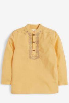 Yellow Regular Length Embroidered Tunic/Kurta (3-16yrs)