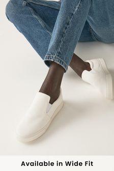 White Canvas Regular/Wide Fit Forever Comfort® Skater Shoes