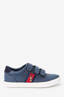 Navy Strap Touch Fasten Stag Embroidery Shoes (Older)