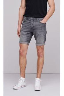 Washed Grey Slim Fit Denim Shorts