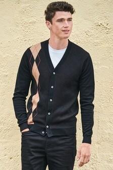 Black Argyle Pattern Cardigan