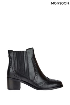 Monsoon Black Brogue Leather Boots