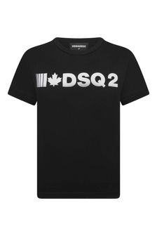 Boys Black Cotton Jersey Logo Print T-Shirt