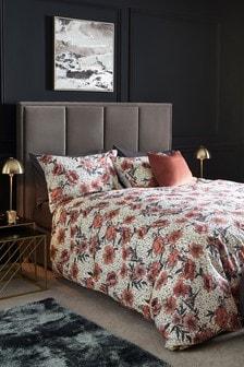 Metallic Dobby Base Floral Duvet Cover and Pillowcase Set