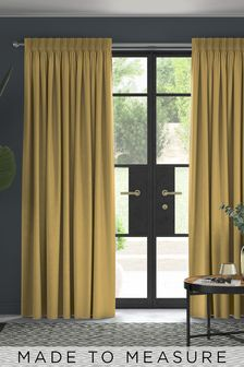 Soft Velour Honey Yellow Made To Measure Curtains