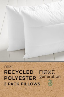 Set of 2 100% Recycled Polyester Pillows