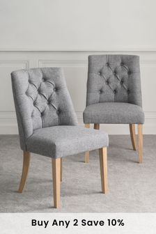 Chunky Weave Mid Grey Set of 2 Wolton Button Dining Chairs With Natural Legs