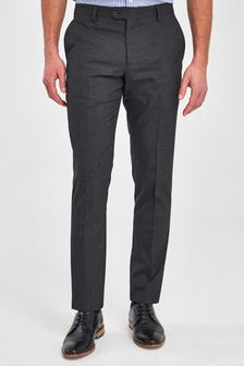 Charcoal Slim Fit Wool Mix Textured Suit: Trousers