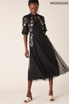 Monsoon Black Gwenevere Sustainable Glitter Embroidered Dress