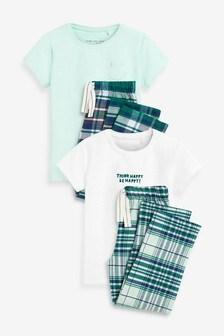 Green/Ecru 2 Pack Woven Check Leg Pyjamas (3-16yrs)