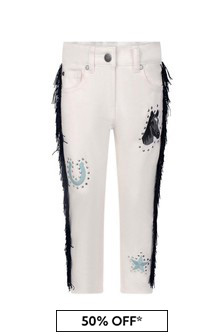 Girls Pink Denim Embroidered Horses Jeans