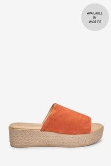Orange Mule Flatform Sandals