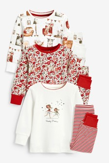 Red/Cream Mouse 3 Pack Pyjamas (9mths-12yrs)