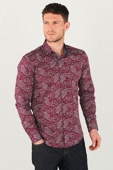 Burgundy Paisley Print Long Sleeve Shirt