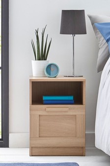 Oak Effect Flynn 1 Drawer Bedside Table