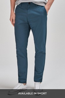 Light Blue Tapered Slim Fit Stretch Chinos