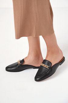 Black Forever Comfort® Leather Hardware Loafer Mules