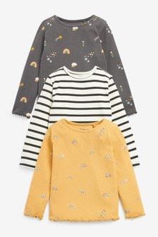 Charcoal/Yellow Stripe 3 Pack Rib T-Shirts (3mths-7yrs)