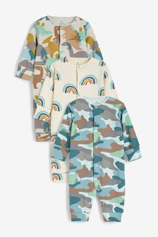 Green/Blue 3 Pack Camouflage Dinosaur Sleepsuits (0mths-2yrs)