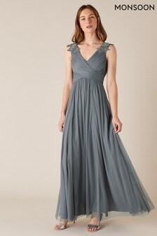 Monsoon Grey Mischa Embellished Tulle Maxi Dress