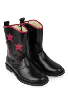 Kids Black Leather Cowboy Boots