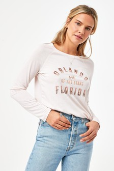 Pink Orlando Graphic Raglan Long Sleeve Top